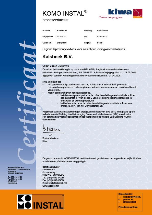 Normec Kalsbeek - Certificaat KOMO INSTAL BRL 6010