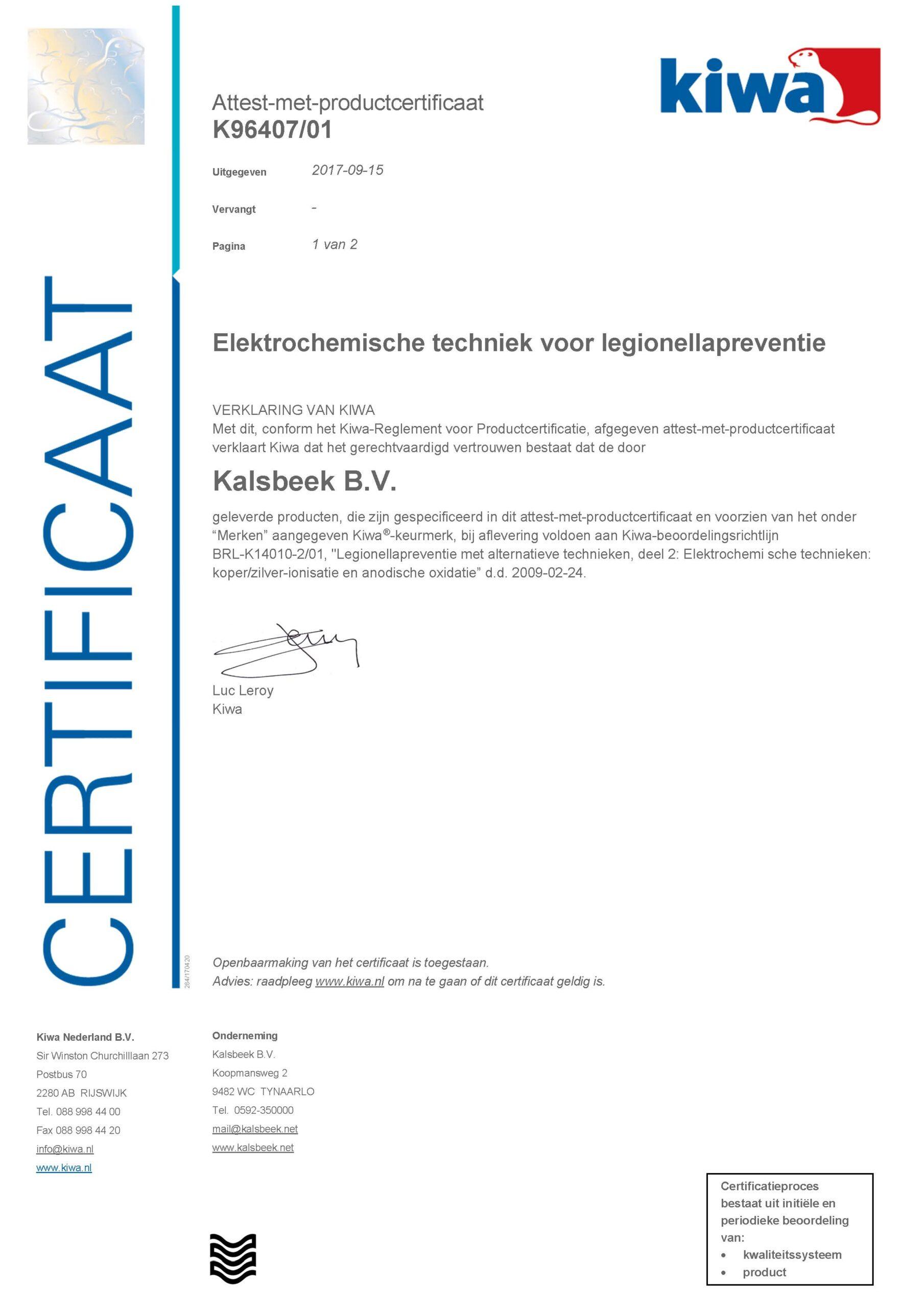 Normec Kalsbeek - Certificaat Legionellapreventie BRL K14010-2