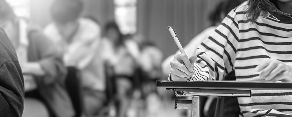 Exam at school with student's taking educational admission test