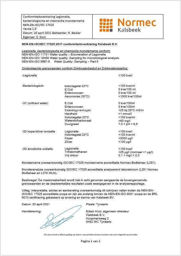 Normec-Kalsbeek-conformiteitsverklaring